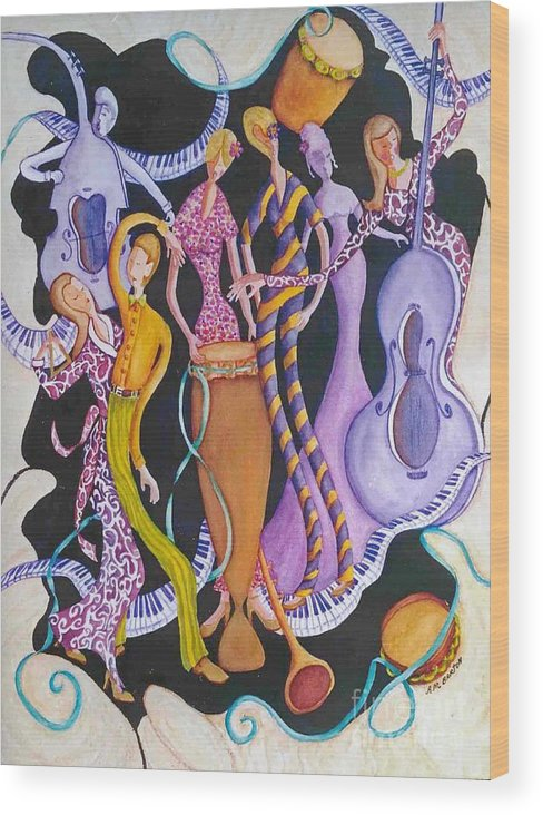 Dancers Wood Print featuring the painting Caribbean Calypso by Arleen Barton