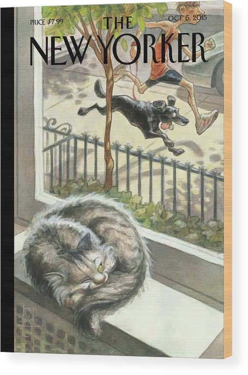 Cat Wood Print featuring the painting Catnap by Peter de Seve