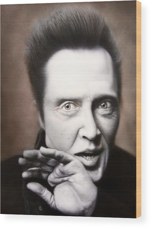 Christopher Walken Wood Print featuring the painting Chris Walken by Grant Kosh