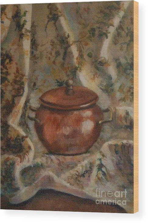Copper Pot Wood Print featuring the painting Copper Pot by Jana Baker