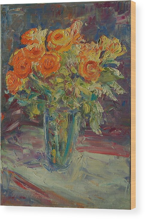 Dozen Orange Roses In A Glass Vase Wood Print featuring the painting Dozen Orange Roses by Thomas Bertram POOLE