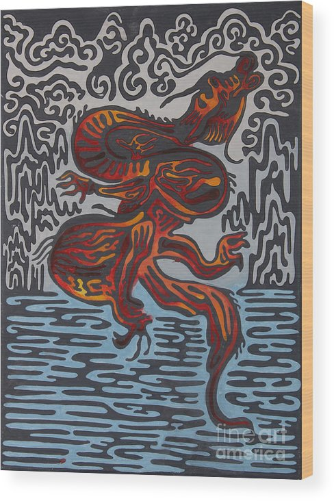 Symbol Of Power Wood Print featuring the painting Dragon by Solongo Ochirbal
