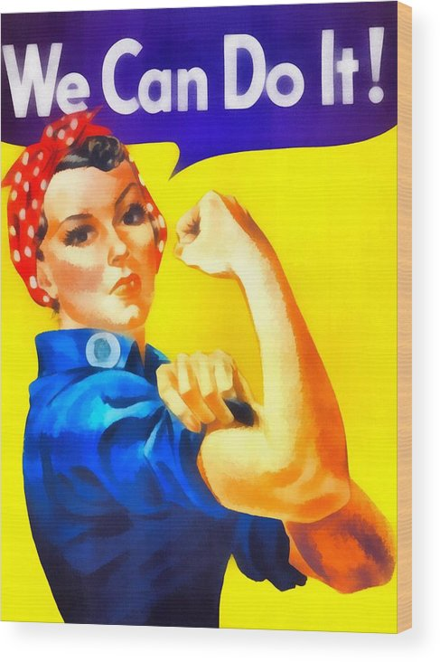 Vintage Rosie The Riveter Wood Print featuring the mixed media Empowerment by Dan Sproul