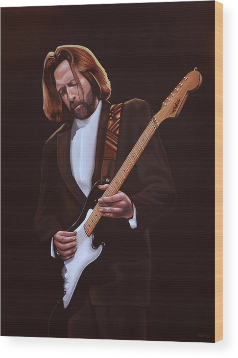 Eric Clapton Wood Print featuring the painting Eric Clapton Painting by Paul Meijering