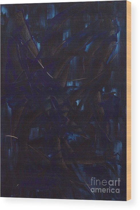 Abstract Wood Print featuring the painting Expectations Blue by Dean Triolo