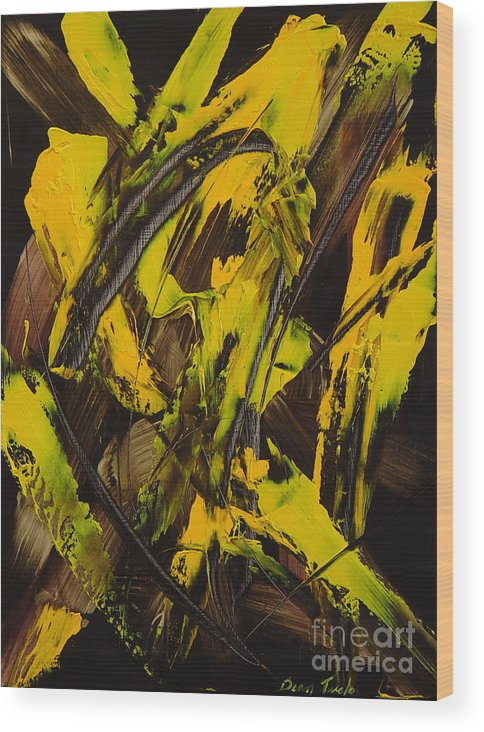 Abstract Wood Print featuring the painting Expectations Yellow by Dean Triolo