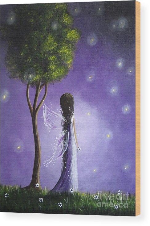 Fairy Art Wood Print featuring the painting Original Fairy Art By Shawna Erback by Erback Art