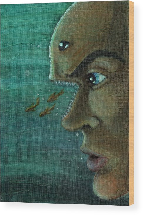 Underwater Wood Print featuring the painting Fish Mind by John Ashton Golden