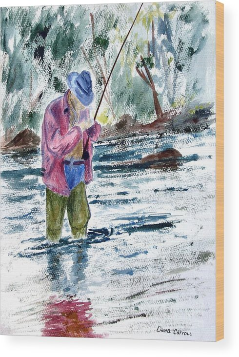 Outdoors Wood Print featuring the painting Fly Fishing The South Platte River by Dana Carroll