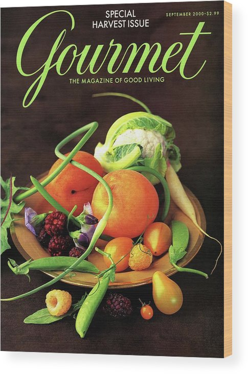 Food Wood Print featuring the photograph Gourmet Cover Featuring A Variety Of Fruit by Romulo Yanes