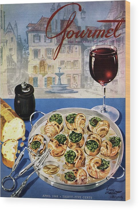 Food Wood Print featuring the photograph Gourmet Cover Illustration Of A Platter by Henry Stahlhut