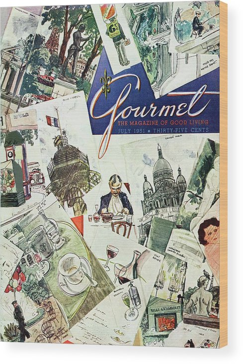 Illustration Wood Print featuring the photograph Gourmet Cover Illustration Of Drawings Portraying by Henry Stahlhut