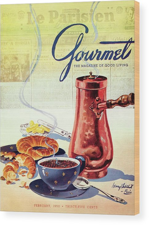 Food Wood Print featuring the photograph Gourmet Cover Of A French Breakfast by Henry Stahlhut