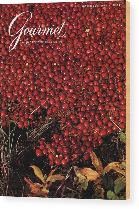 Food Wood Print featuring the photograph Gourmet Magazine Cover Featuring Cranberries by Lans Christensen