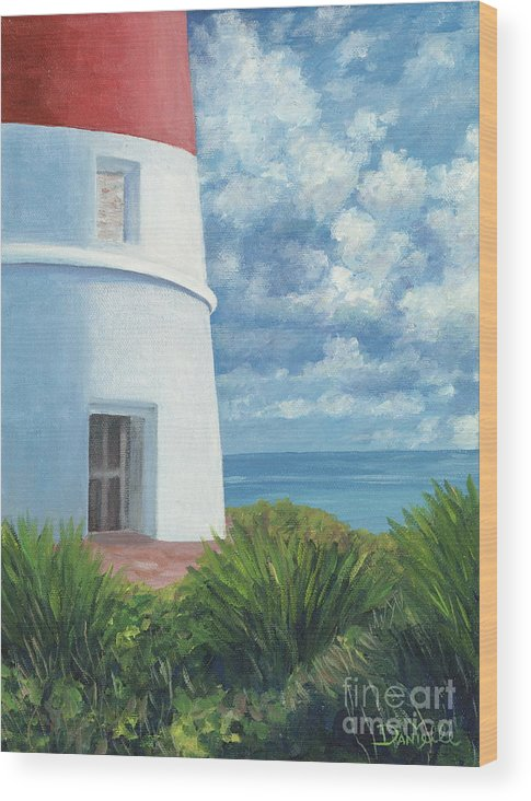 Seascape Wood Print featuring the painting Gun Cay Lighthouse by Danielle Perry