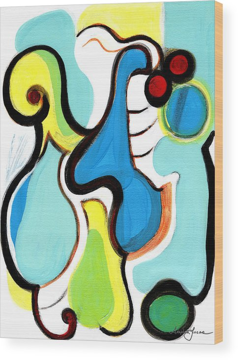Abstract Art Wood Print featuring the painting Happiness by Stephen Lucas