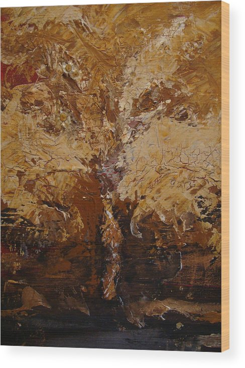 Tree Wood Print featuring the painting Harvest by Holly Picano