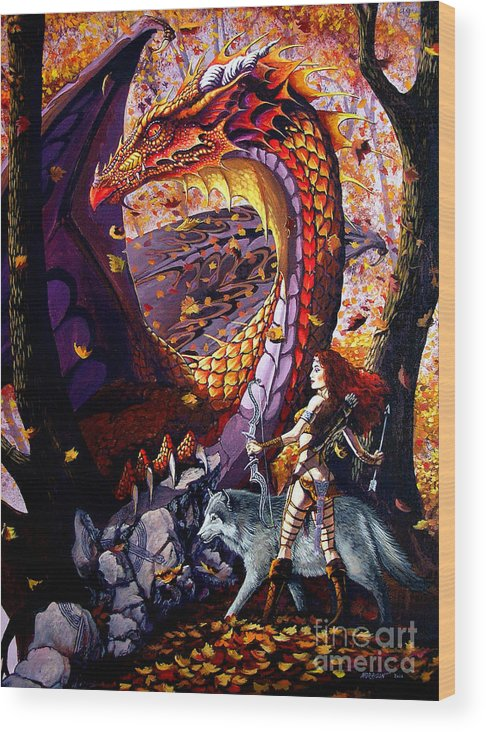 Dragon Wood Print featuring the painting Highland Huntress by Stanley Morrison