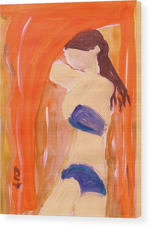 Woman Wood Print featuring the painting Hot Summer Day by Mary Carol Williams