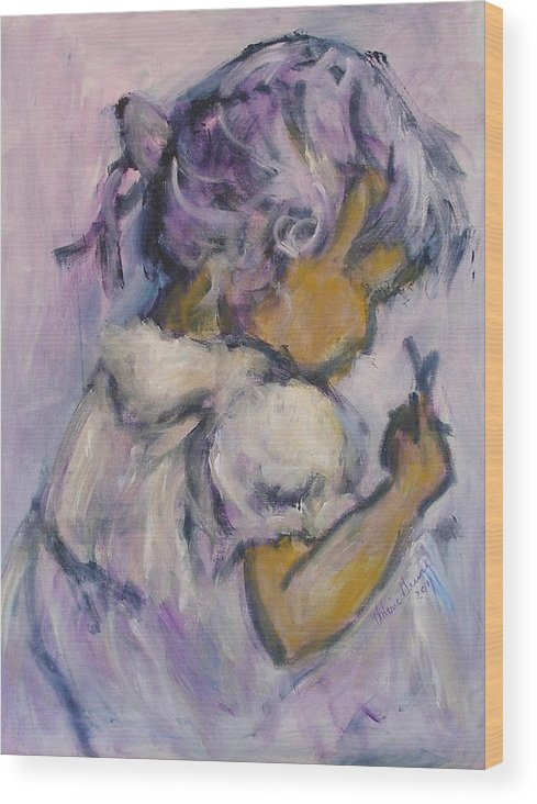Little Girl Paintings Wood Print featuring the painting Innocent by Valerie Greene
