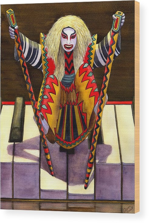 Kabuki Wood Print featuring the painting Kabuki Chopsticks 1 by Catherine G McElroy