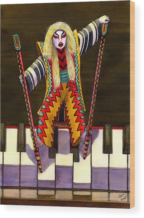 Kabuki Wood Print featuring the painting Kabuki Chopsticks 2 by Catherine G McElroy