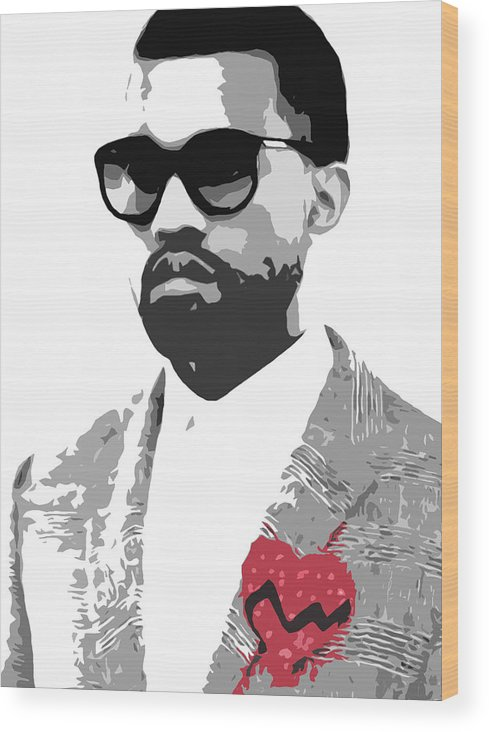 Black Wood Print featuring the digital art Kanye West by Mike Maher