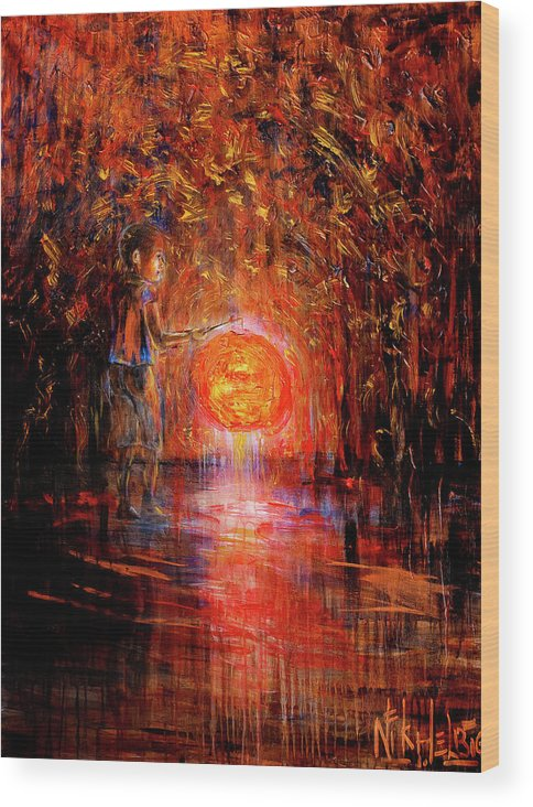 Lantern Wood Print featuring the painting Light by Nik Helbig
