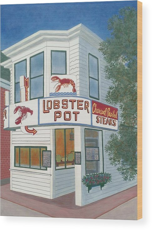 Cape Cod Wood Print featuring the painting Lobster Pot by David Hinchen
