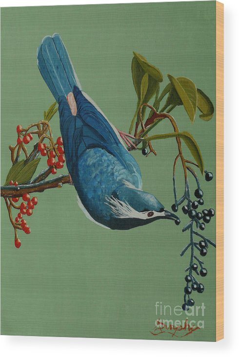 Bird Wood Print featuring the painting Lunch Time For Blue Bird by Anthony Dunphy