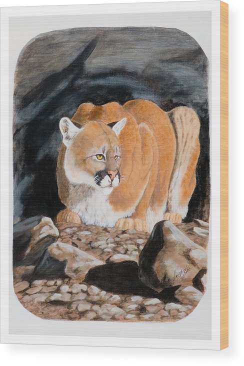 Cougar Wood Print featuring the painting Nevada Cougar by Darcy Tate