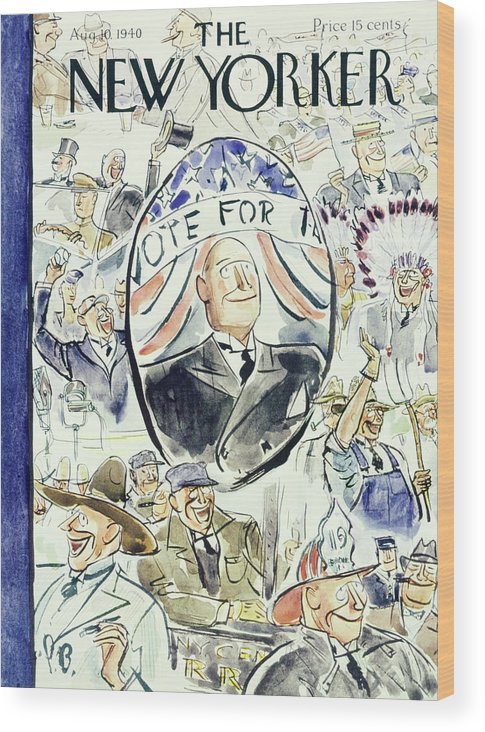 Political Wood Print featuring the painting New Yorker August 10 1940 by Perry Barlow