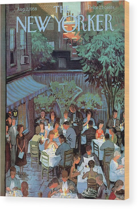 Arthur Getz Agt Wood Print featuring the painting New Yorker August 2nd, 1958 by Arthur Getz