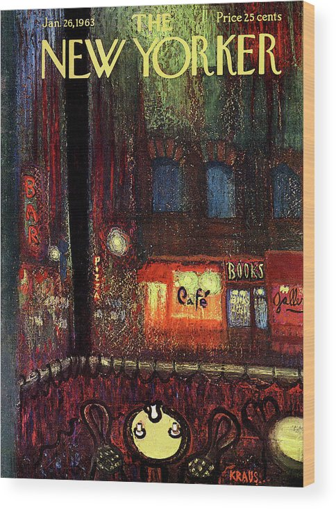 Urban Wood Print featuring the painting New Yorker January 26th, 1963 by Robert Kraus