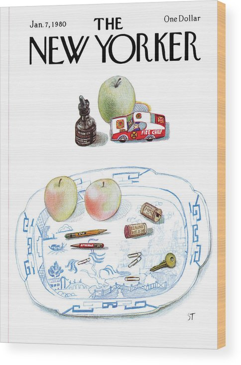 Saul Steinberg 50465 Steinbergattny   (a Dish On A Table With Apples Wood Print featuring the painting New Yorker January 7th, 1980 by Saul Steinberg
