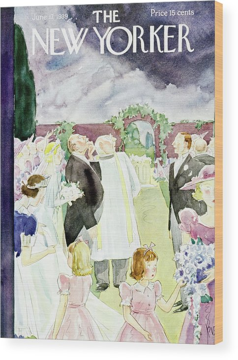Wedding Wood Print featuring the painting New Yorker June 17 1939 by Perry Barlow