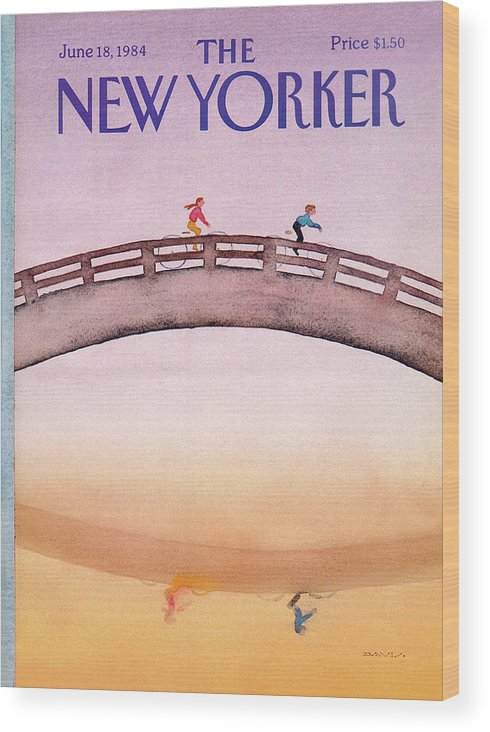 Bridge Wood Print featuring the painting New Yorker June 18th, 1984 by Susan Davis