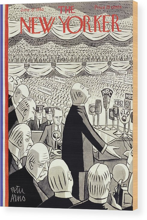 Religion Wood Print featuring the painting New Yorker June 22 1940 by Peter Arno