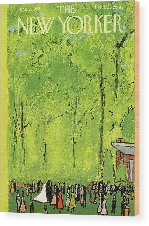 Abe Birnbaum Abi Wood Print featuring the painting New Yorker June 7th, 1958 by Abe Birnbaum