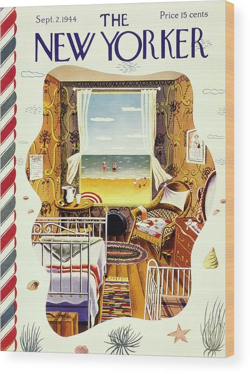 Illustration Wood Print featuring the painting New Yorker Magazine Cover Of A Bedroom By The Sea by Ilonka Karasz