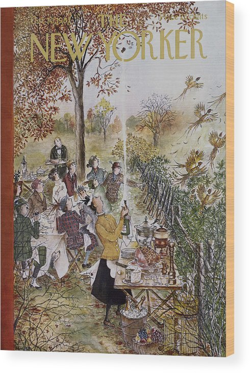 (a Hunting Group At A Picnic Is Interrupted When A Maid Bursts Open A Champagne Bottle That Frightens Away A Flock Of Pheasant.) Animals Wild Birds Dining Food Ham Cheese Fruit Drinking Alcohol Wine High Class Cuisine Leisure Games Hunting Relaxation Nature Enviornment Relationships Friends Men Women Mary Petty Mary Petty Mpe Artkey 47048 Wood Print featuring the painting New Yorker October 20th, 1962 by Mary Petty