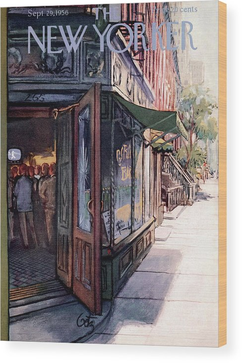 Suburb Country Outdoors Community Town Small Suburban Quaint Village Wood Print featuring the painting New Yorker September 29th, 1956 by Arthur Getz