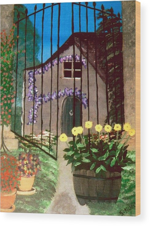 Landscape Wood Print featuring the painting Old French Farm House by Sylviane Nuccio
