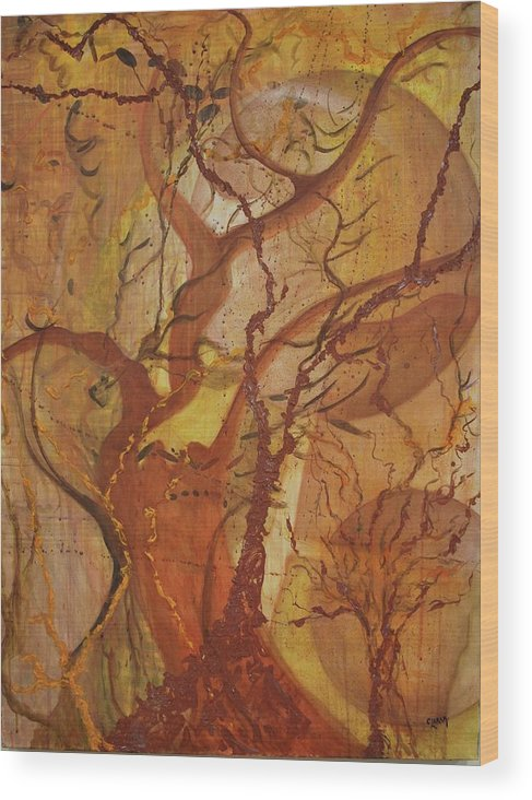 Brown Wood Print featuring the painting Owl's Perch by Clara K Johnson