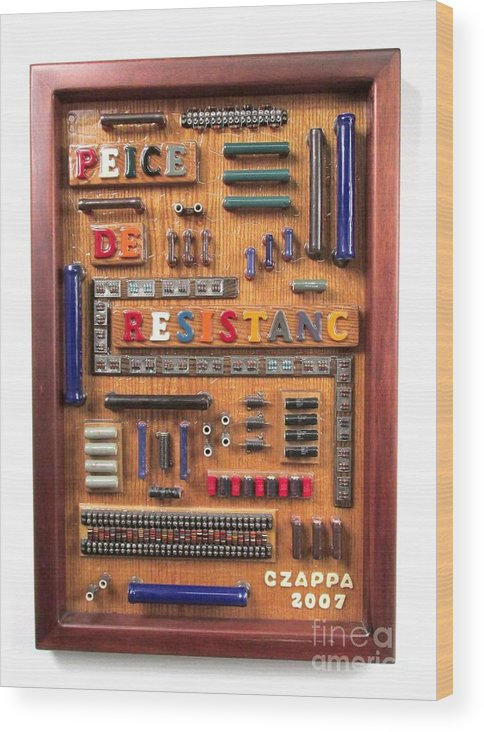 Electronic Parts Wood Print featuring the sculpture Peice De Resistanc #116 by Bill Czappa