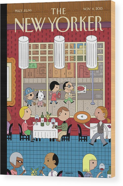 Fast Food Wood Print featuring the painting People Enjoying Dinner In The City by Ivan Brunetti
