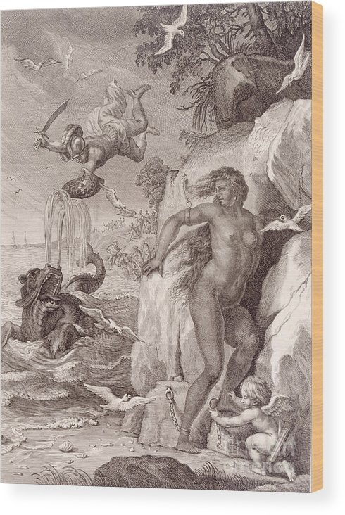 Perseus Wood Print featuring the painting Perseus Delivers Andromeda From The Sea Monster by Bernard Picart