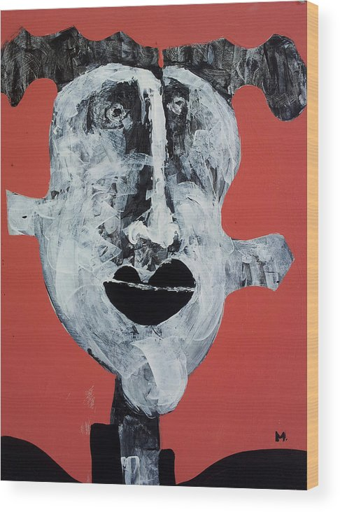 Face Wood Print featuring the painting Piscis No 7 by Mark M Mellon