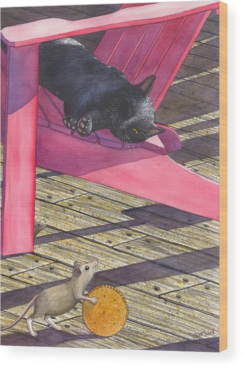 Cat Wood Print featuring the painting Precarious by Catherine G McElroy