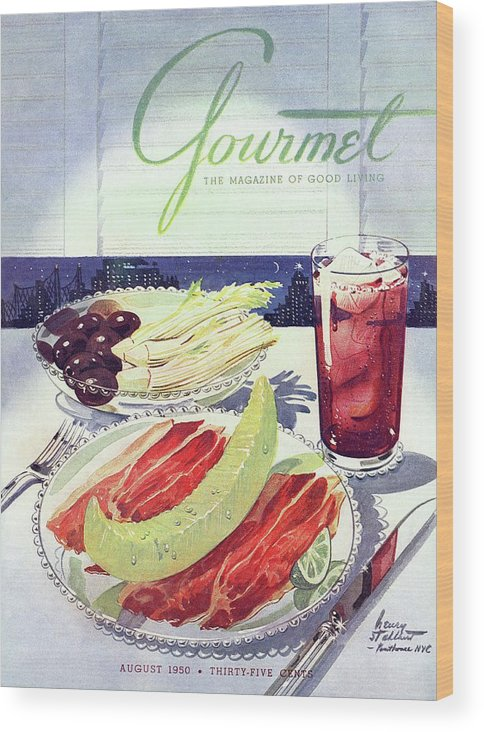 Food Wood Print featuring the photograph Prosciutto, Melon, Olives, Celery And A Glass by Henry Stahlhut